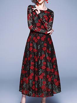 Elegant Long Sleeve Lace Maxi Dress