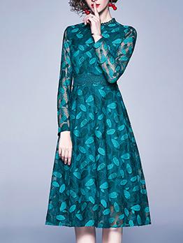 Hook Flower Ladies Long Sleeve Lace Dress
