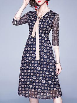 Fashion Geometric Print Long Sleeve Lace Dress
