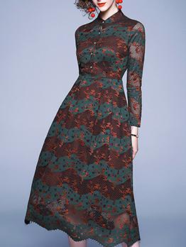 Elegant Slim Contrast Color Lace Midi Dress