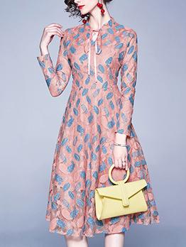 Winter Lace Contrast Color Long Sleeve Dress
