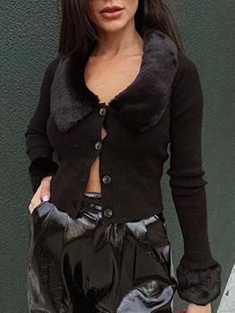 Rib-Knit Single Breasted Plush Neck Black Short Coat