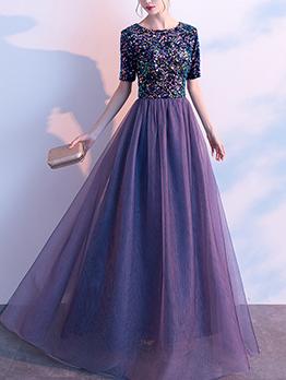 Sequined Mesh Short Sleeve Maxi Dress
