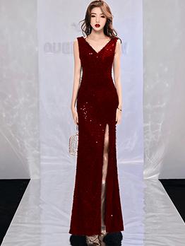 High Split Backless Sequin Maxi Dress