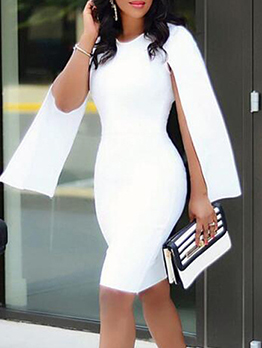 Slim Fit White Long Sleeve Bodycon Dress