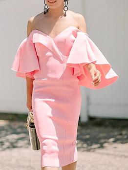 Graceful Solid Ruffled Flare Sleeve Midi Dress
