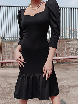 Classic Solid Long Sleeve Ladies Black Dress