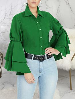 Ruffled Sleeve Turndown Collar Ladies Blouse