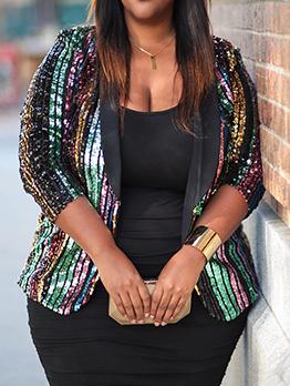 Glitter Multicolored Sequins Plus Size Ladies Blazer