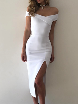 Off Shoulder Split Hem Solid Ladies Bodycon Dress