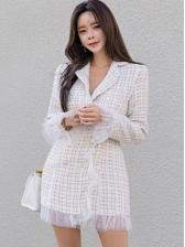 Elegant Gauze Patchwork Plaid Long Sleeve Dress