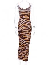 Animal Printed Backless Sleeveless Bodycon Dress