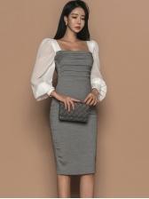 Low-Cut Contrast Color Chiffon Dresses For Women