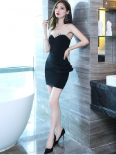 Strapless Ruffled  Patchwork Sexy Evening Dresses