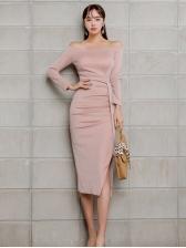 Elegant Off Shoulder Slit Long Sleeve Dress