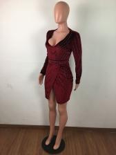 Velvet Rhinestone Long Sleeve Mini Dress