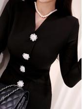Flower Button Design Slit Black Dress