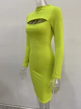 Pure Color Breast Cutout Long Sleeve Bodycon Dress