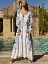 Bohemian Embroidery Lantern Long Sleeve Maxi Dress