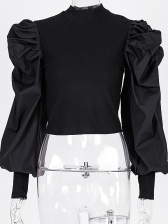 Chic Pleated Lantern Sleeve Solid Color Ladies Blouse