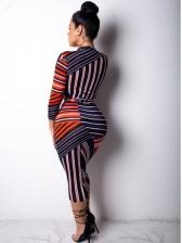 Irregular Striped Long Sleeve Midi Dress With Belt