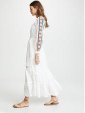 Bohemian Embroidery White Long Sleeve Midi Dress