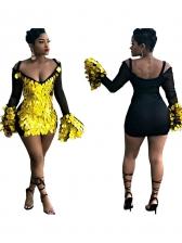 Fare Sleeve Backless Long Sleeve Sequin Dress