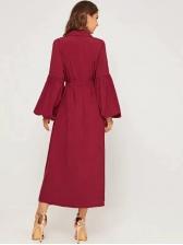 Pure Color Lantern Long Sleeve Wrap Dress
