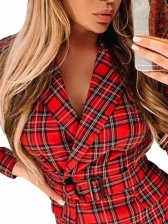 Double-breasted Lapel Long Sleeve Plaid Blazer Dress