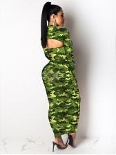 Elastic Leopard Camouflage Print Two Piece Dress Set