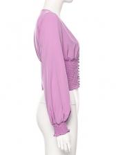Deep V Neck Elastic Waist Purple Cropped Blouse