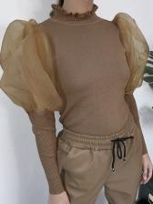 Irregular Collar Knitting Puff Sleeve Ladies Blouse
