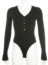 V Neck All Black Button Up Long Sleeve Bodysuit