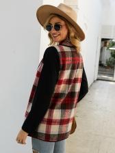 Autumn Shawl Collar Stitching Color Plaid Ladies Coats