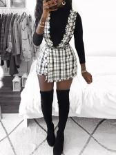 Chic Plaid Asymmetric Hem Suspender Skirt