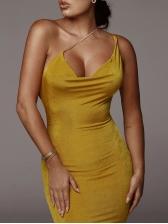 Sexy Slip Inclined Strap Midi Bodycon Dress