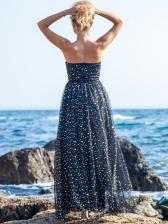 Tulle Patchwork Glitter Strapless Sequin Evening Dress