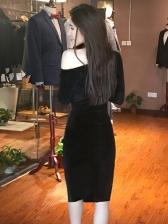 Velvet Incline Shoulder Split Long Sleeve Black Dress