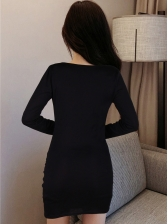 Waist Cutout Pleated Solid Long Sleeve Short Dress