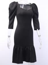 Classic Solid Long Sleeve Ladies Black Dress
