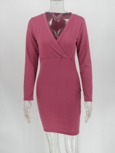 Simple Deep v Fitted Female Long Sleeve Dress