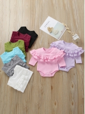 Pure Color Long Sleeve Baby Ruffle Romper