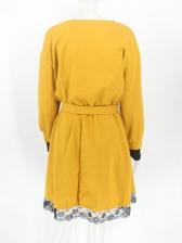 Woolen Lacework Crew Neck Dresses For Women