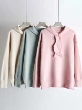 Preppy Style Tie Neck Long Sleeve Knit Sweater