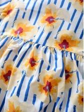 Flower Printed Striped Long Sleeve Romper