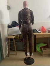 Leopard Patchwork Stand Collar Zipper Up 2 Piece Sets