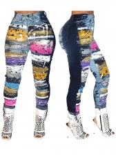 Multicolored Printing Mid Waist Skinny Long Pants
