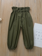 Ruffled Shirt And Paperbag Pants Two Piece Set