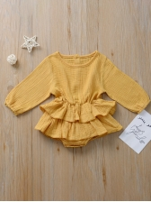 Single Breasted Ruffled Solid Baby Girl Rompers