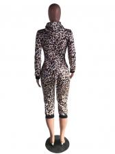 Cute Leopard Printed Hooded Long Sleeve Jumpsuit